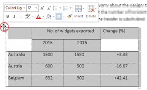 Screenshot of mouse hover over a Word table