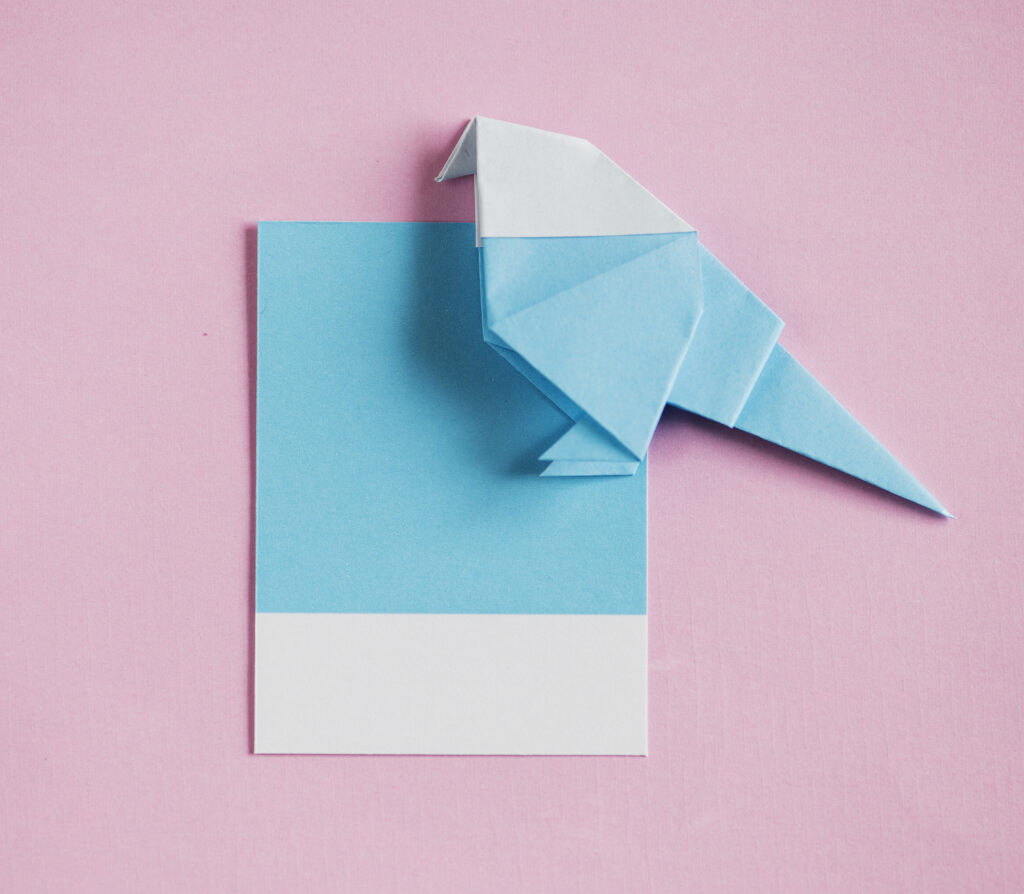 Bluebird origami letter